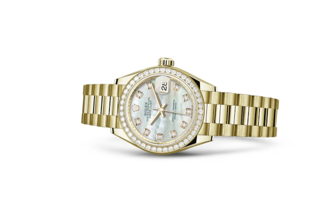 Lady-Datejust 28 - Nácar blanco engastada de diamantes, oro amarillo y diamantes