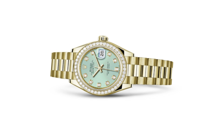Lady-Datejust 28 - Mint green set with diamonds, yellow gold and diamonds