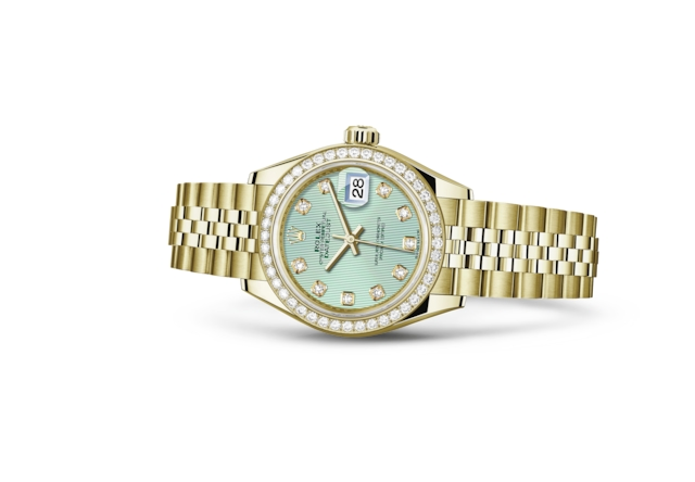 Lady-Datejust 28 - Vert menthe, serti de diamants, or jaune et diamants