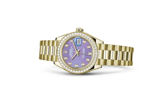 Lady-Datejust 28 - Lavender set with diamonds, yellow gold and diamonds