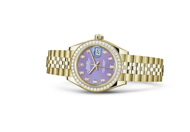 Lady-Datejust 28 - Lavendelfarbenes Diamantzifferblatt, Gelbgold mit Diamanten