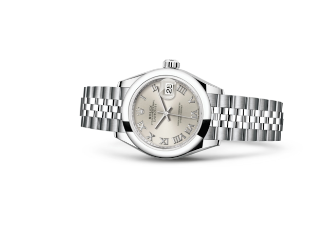 Lady-Datejust 28 - Серебристый, Сталь Oystersteel