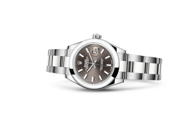 Lady-Datejust 28 - Dark grey, Acero Oystersteel