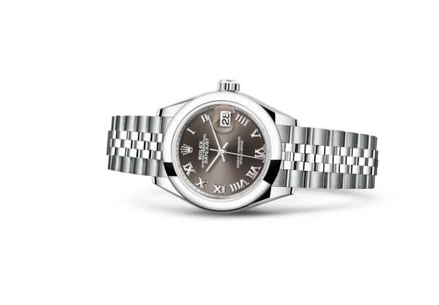 Lady-Datejust 28 - Dark grey, Acier Oystersteel