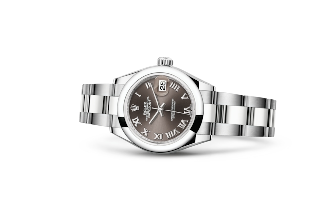 Lady-Datejust 28 - Dark grey, Сталь Oystersteel