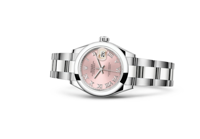 Lady-Datejust 28 - Rose, Acier Oystersteel