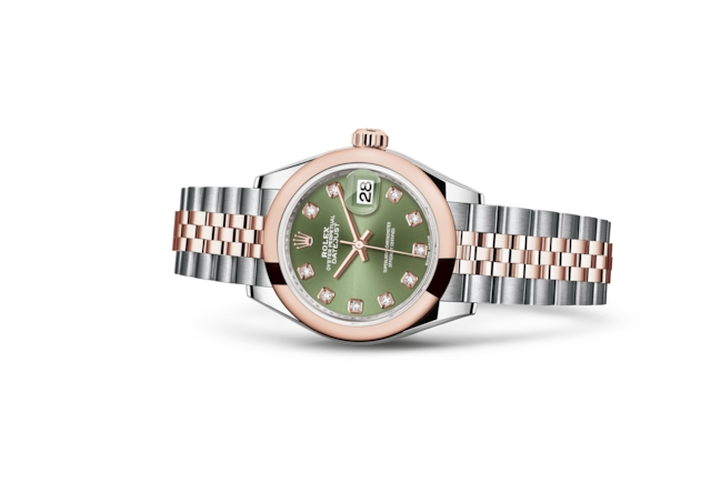 Lady-Datejust 28 - Vert olive, serti de diamants, Acier Oystersteel et or Everose