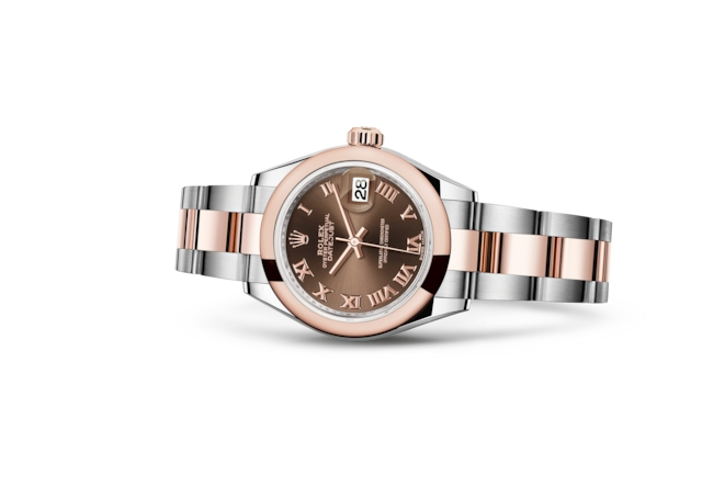 Lady-Datejust 28 - Chocolate, Aço Oystersteel e ouro Everose