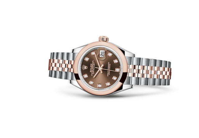 Lady-Datejust 28 - Chocolate con diamanti, Acciaio Oystersteel e oro Everose