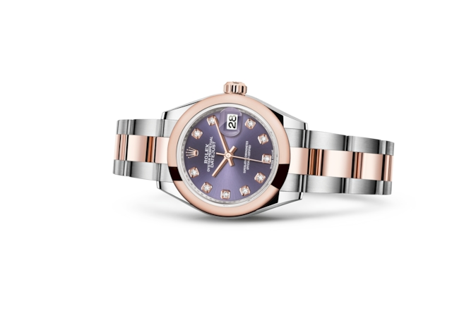 Lady-Datejust 28 - Aubergine set with diamonds, steel and Everose gold