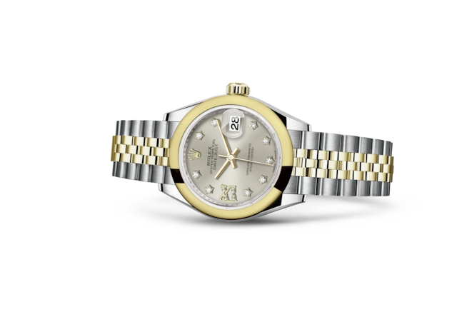 Lady-Datejust 28 - Argenté, serti de diamants, Acier Oystersteel et or jaune