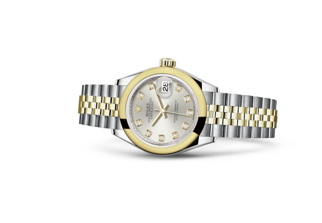 Lady-Datejust 28 - Argenté, serti de diamants, acier et or jaune