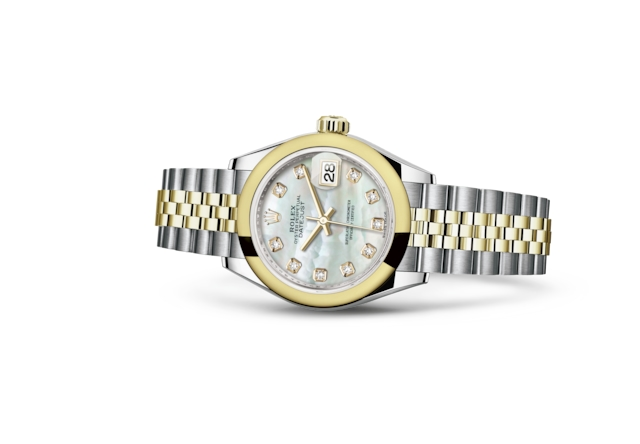 Lady-Datejust 28 - White mother-of-pearl set with diamonds, steel and yellow gold