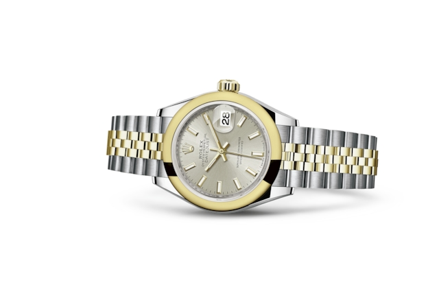 Lady-Datejust 28 - Серебристый, сталь Oystersteel и желтое золото