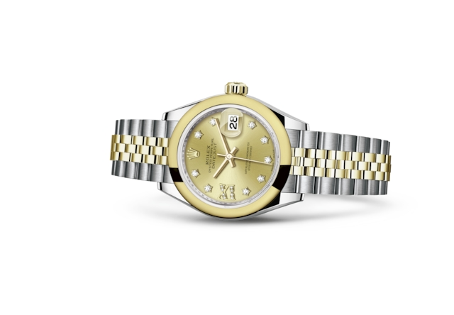 Lady-Datejust 28 - Champagne-colour set with diamonds, Oystersteel and yellow gold