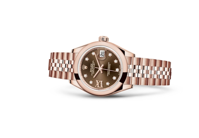 Lady-Datejust 28 - Chocolate set with diamonds, Everose gold