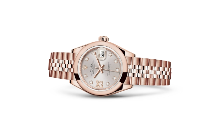Lady-Datejust 28 - Sundust con diamanti, oro Everose