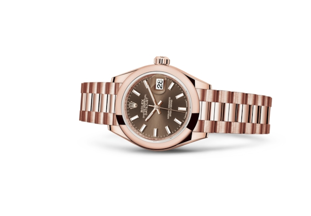 Lady-Datejust 28 - Chocolat, or Everose
