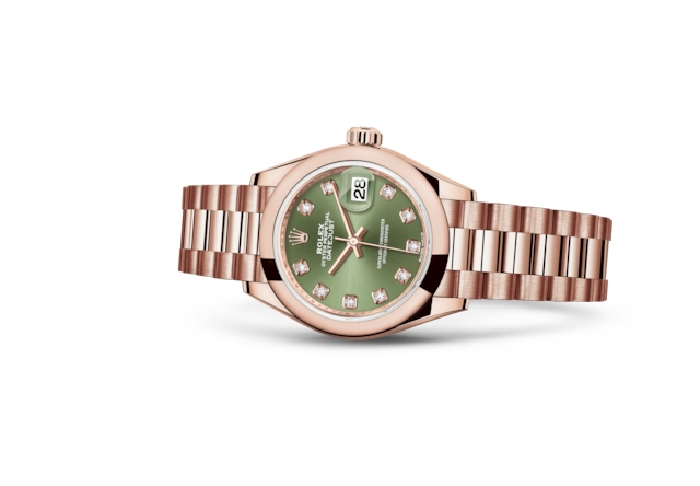 Lady-Datejust 28 - Olijfgroen met diamanten, Everose-goud