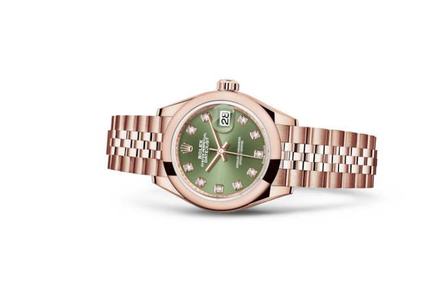 Lady-Datejust 28 - Verde-oliva cravejado de diamantes, ouro Everose