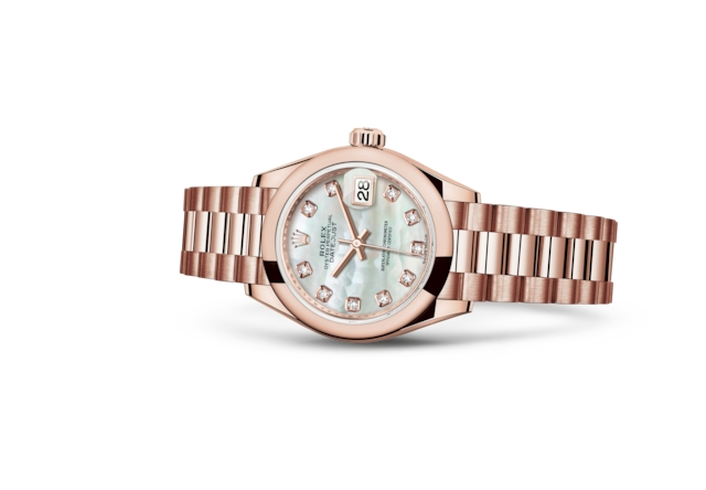 Lady-Datejust 28 - Wit parelmoer bezet met diamanten, Everose-goud