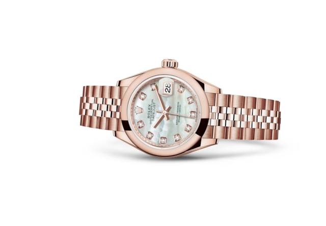 Lady-Datejust 28 - Helles Perlmuttzifferblatt mit Diamanten, Everose-Gold