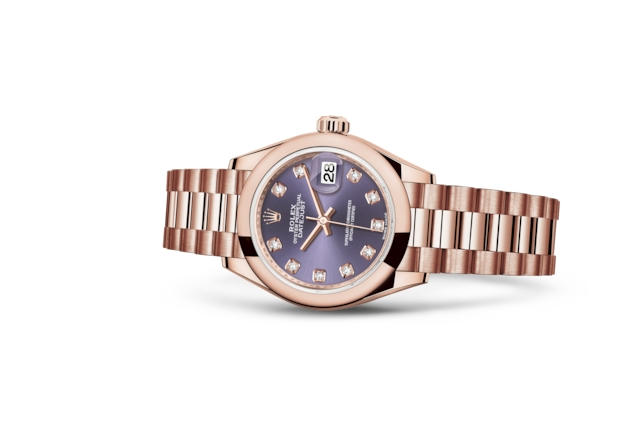 Lady-Datejust 28 - Auberginekleur met diamanten, Everose-goud