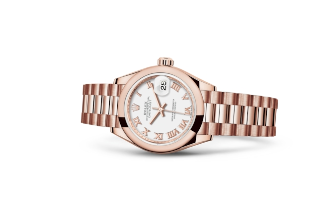 Lady-Datejust 28 - Bianco, oro Everose