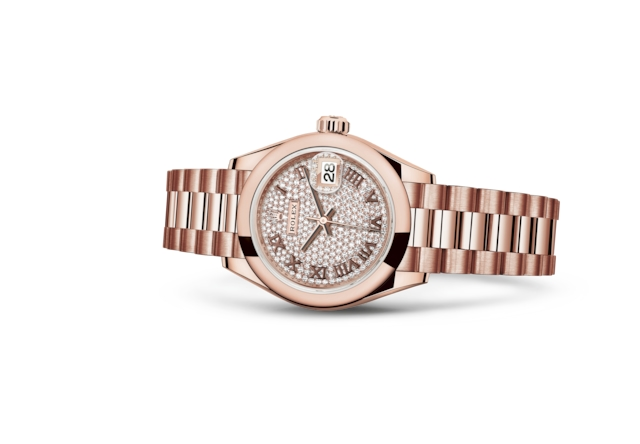 Lady-Datejust 28 - Pavé diamantes, oro Everose