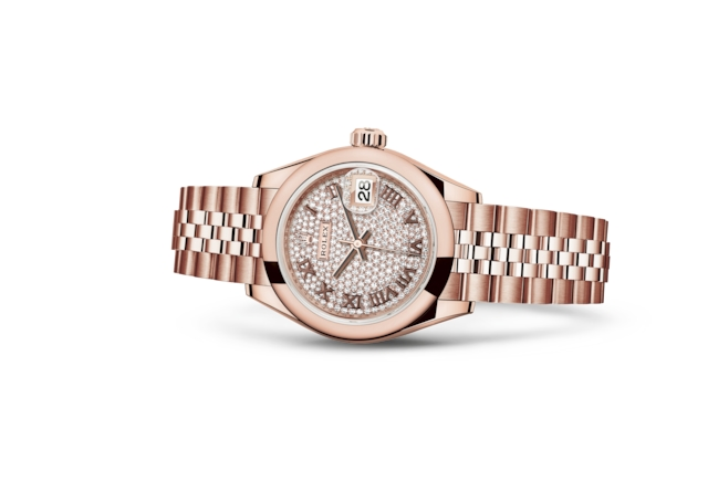 Lady-Datejust 28 - Pavé di diamanti, oro Everose