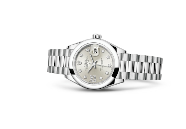 Lady-Datejust 28 - Prateado cravejado de diamantes, platina