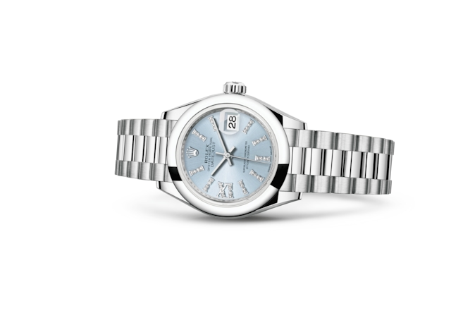 Lady-Datejust 28 - Ice blue set with diamonds, platinum