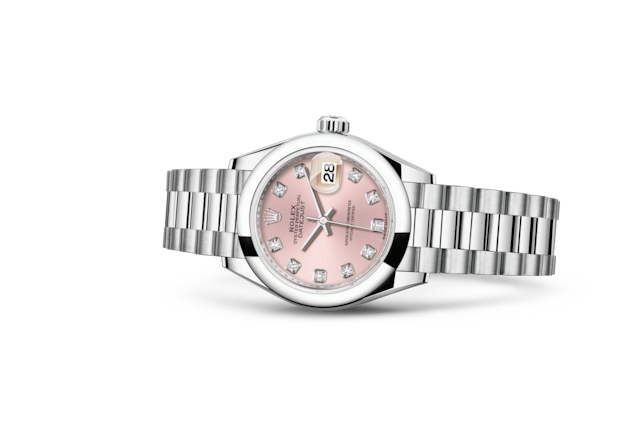 Lady-Datejust 28 - Roze met diamanten, platina