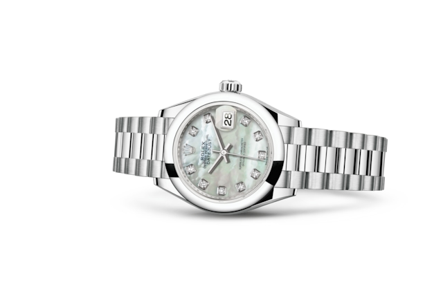 Lady-Datejust 28 - Wit parelmoer bezet met diamanten, platina