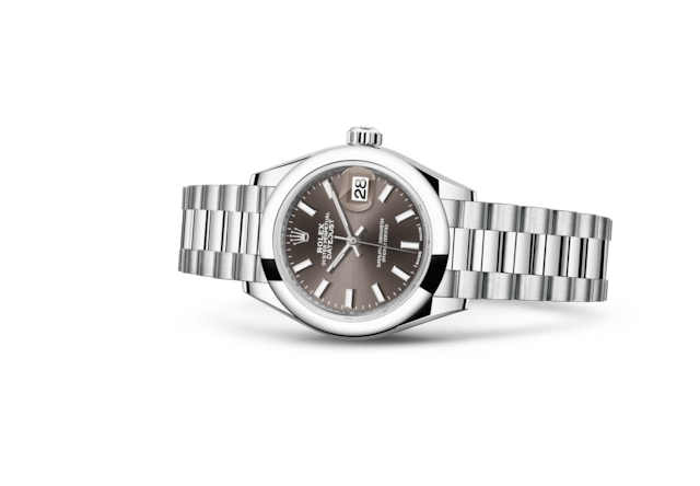 Lady-Datejust 28 - Dark grey, Bạch kim