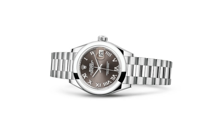 Lady-Datejust 28 - Dark grey, platin