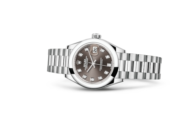 Lady-Datejust 28 - Dark grey con diamantes, Platino