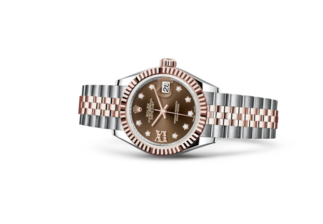 Lady-Datejust 28 - Chocolate engastada de diamantes, Acero Oystersteel y oro Everose
