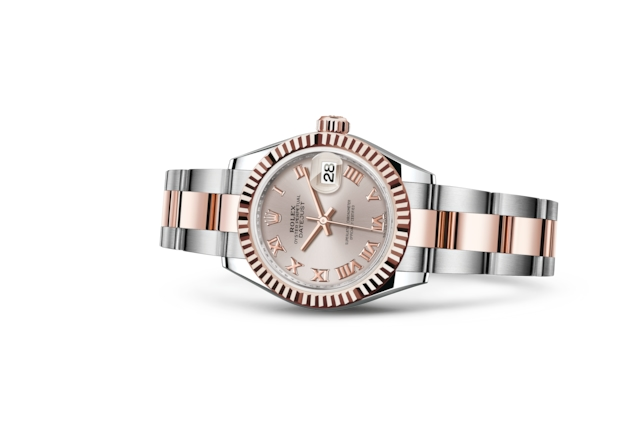Lady-Datejust 28 - Sundust, Acier Oystersteel et or Everose