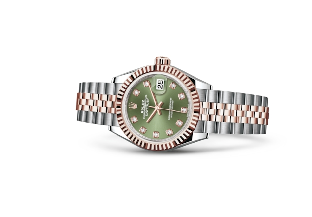 Lady-Datejust 28 - Olive green set with diamonds, Oystersteel and Everose gold