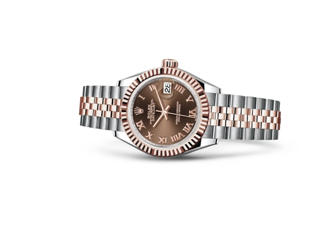 Lady-Datejust 28 - Chocolate, Acciaio Oystersteel e oro Everose