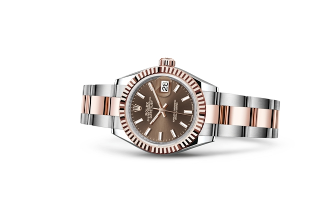Lady-Datejust 28 - Chocolate, Acero Oystersteel y oro Everose