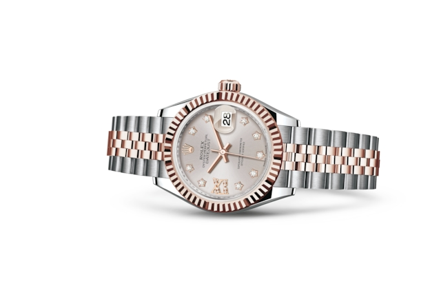 Lady-Datejust 28 - Sundust, serti de diamants, Acier Oystersteel et or Everose