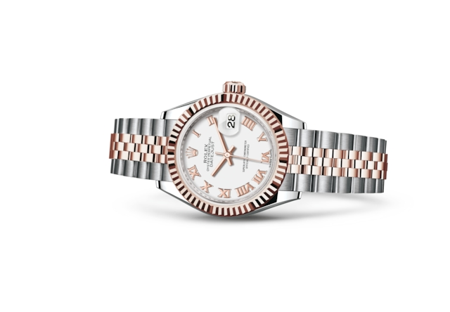 Lady-Datejust 28 - Белый, сталь Oystersteel и золото Everose