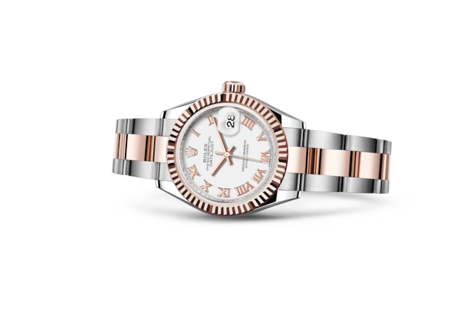 Lady-Datejust 28 - Blanc, Acier Oystersteel et or Everose