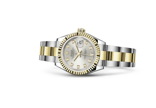 Lady-Datejust 28 - Silver set with diamonds, Oystersteel and yellow gold