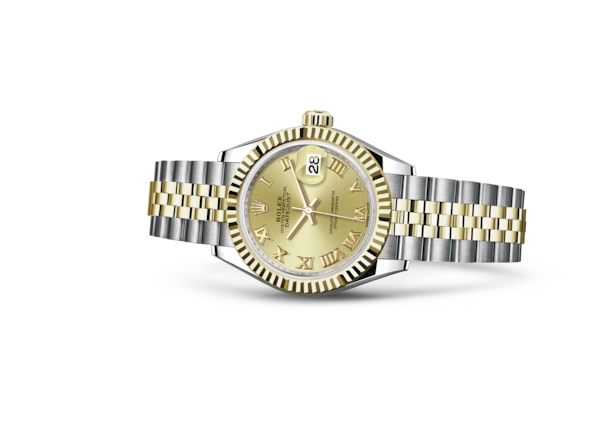 Lady-Datejust 28 - Champagne-colour, Oystersteel and yellow gold