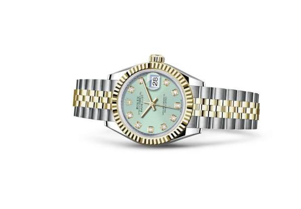 Lady-Datejust 28 - Mint green set with diamonds, Oystersteel and yellow gold