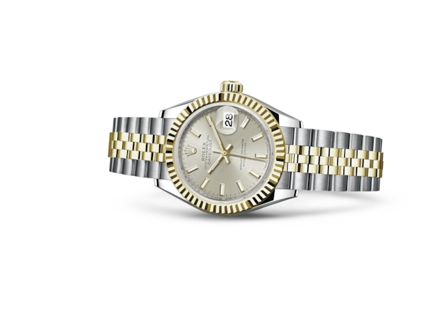 Lady-Datejust 28 - Silver, steel and yellow gold