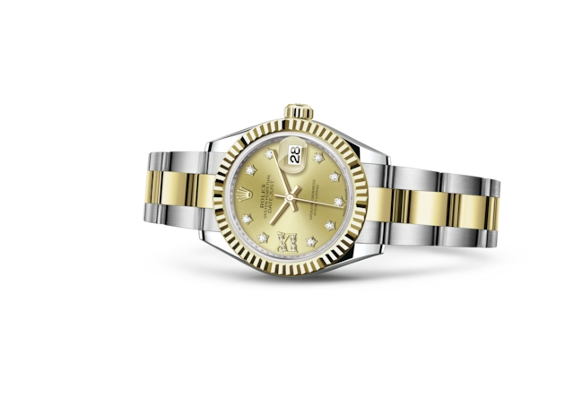Lady-Datejust 28 - Color champagne engastada de diamantes, Acero Oystersteel y oro amarillo
